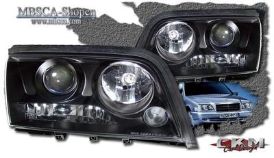 Clear frontlights projector Black 2pcs