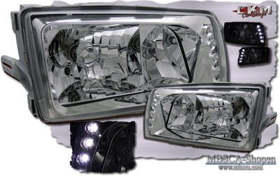 Clear frontlights 2pcs black with integrated LEDs.
