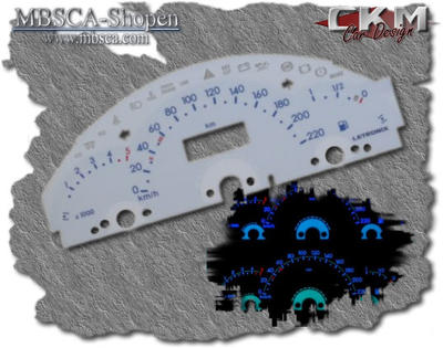 White plasma gauges with blue text. 220km/h