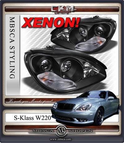 Clear glas facelift XENON frontlights 2pcs BLACK