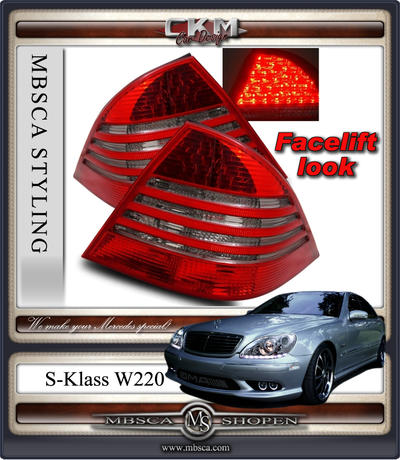 Clear glas facelift taillights Red/Smoke. 2 pcs