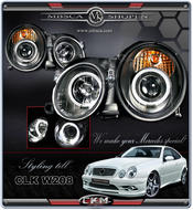 Clear glass projecktor Angel Eyes frontlights 2pcs Black