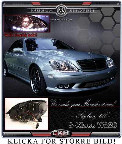 Clear glas facelift XENON frontlights DEVIL EYES Black 2pcs