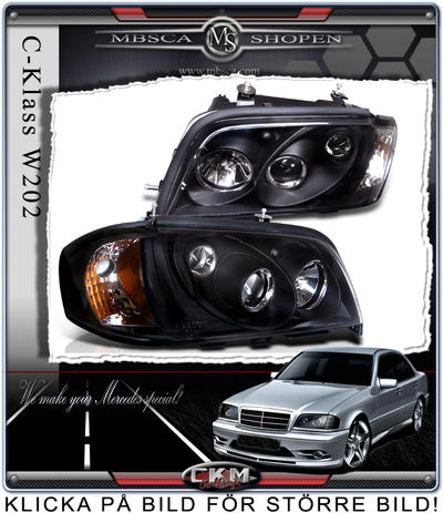 Clear frontlights 2pcs black with integrated blinkers.